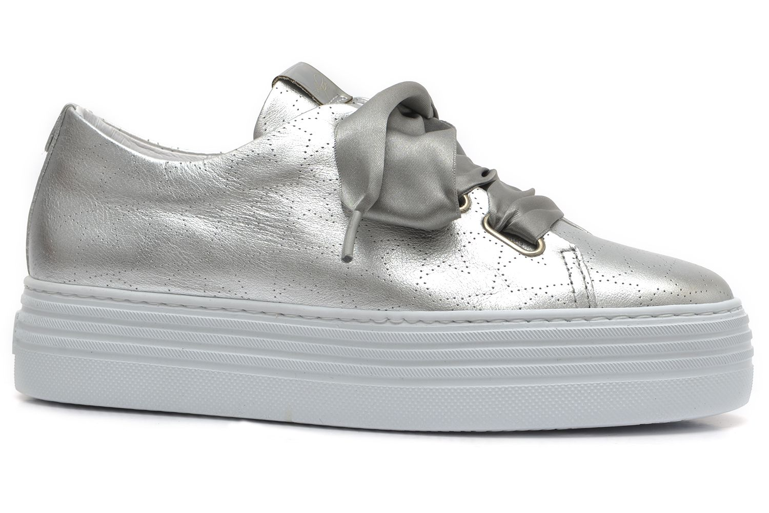 ALPE WOMAN Silver Leather Trainers with
